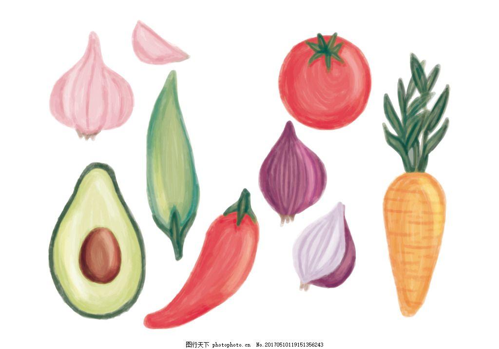手绘彩铅蔬果素材 水果素材 矢量水果 手绘水果 手绘蔬果 手绘蔬菜