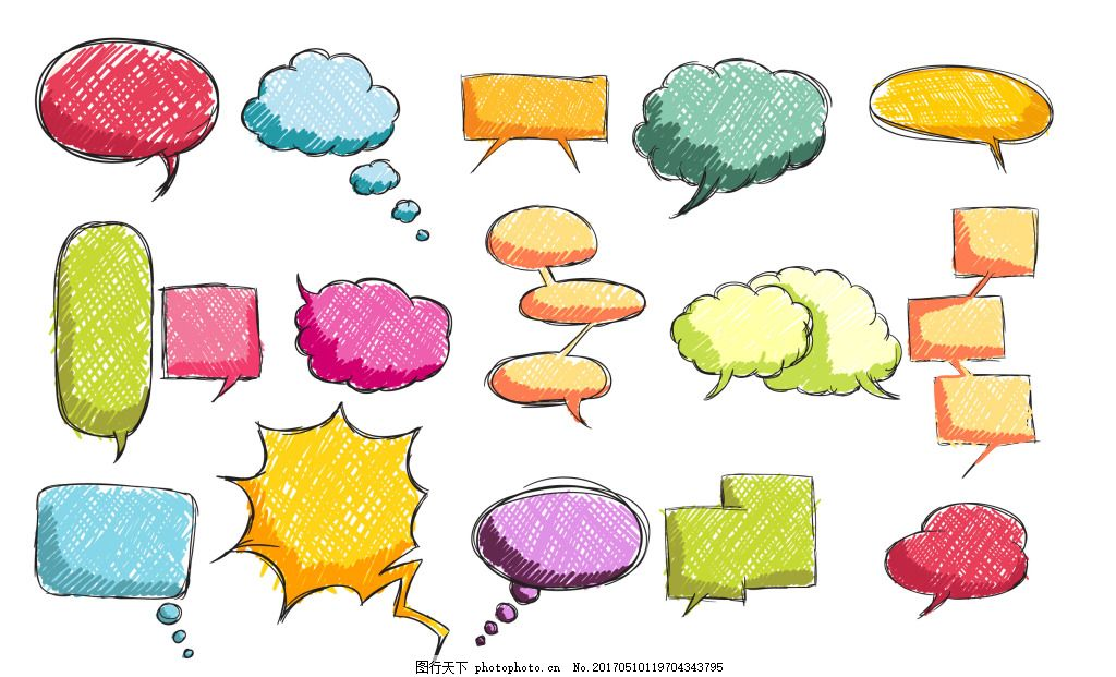 對話框圖案 多種 手繪 彩色 氣泡 對話框