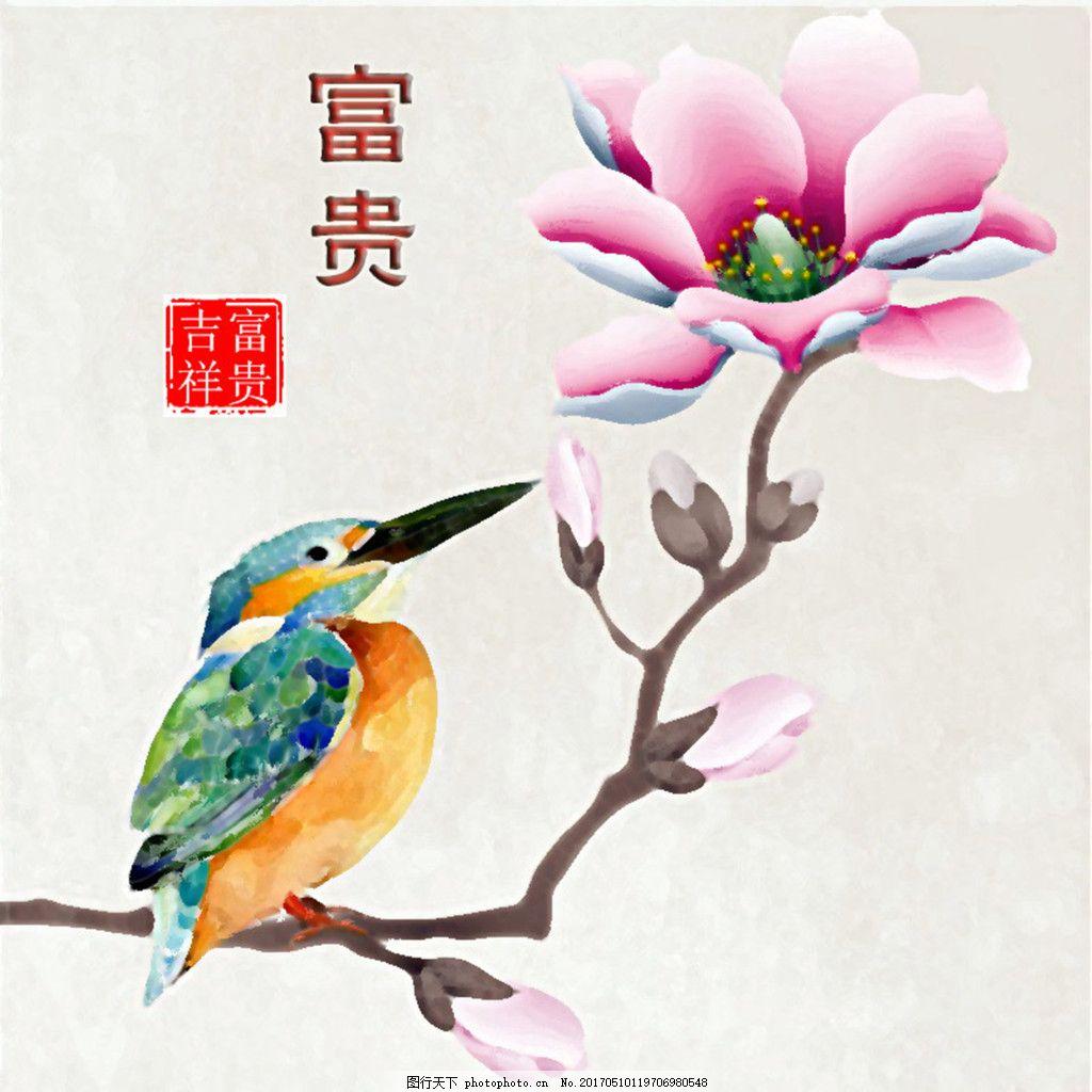 花鸟二联1 花卉 小鸟 水粉 简约 清晰