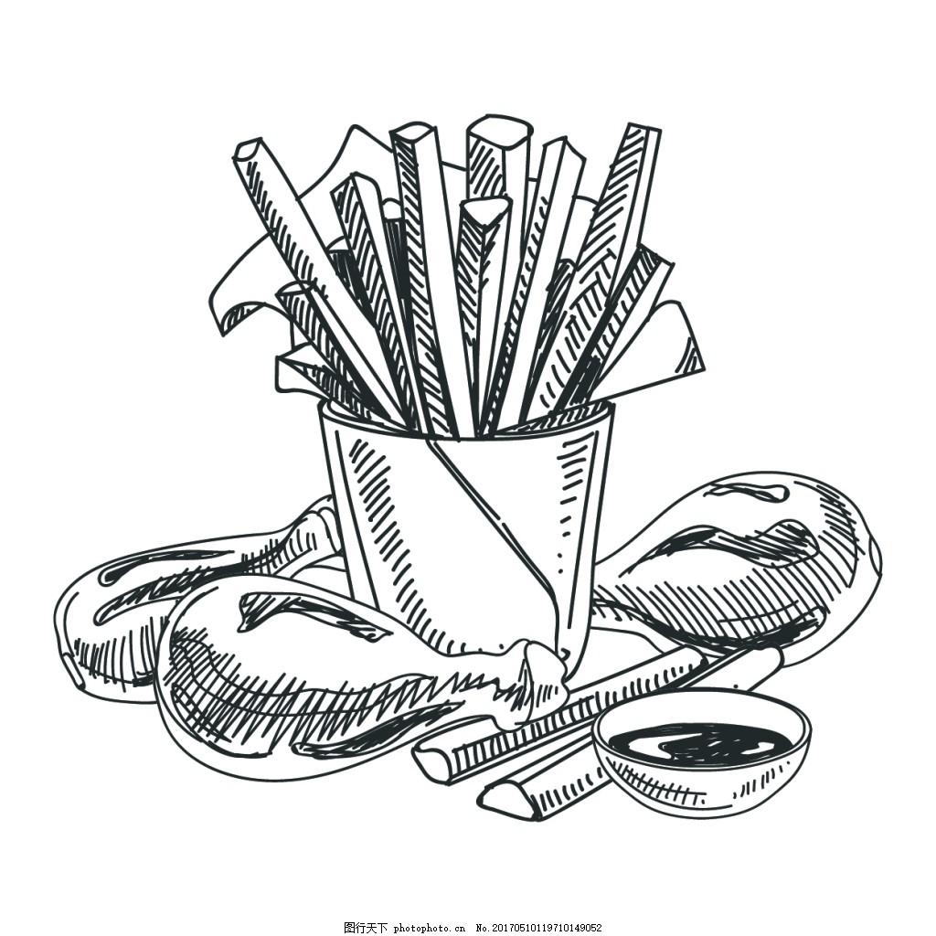 矢量卡通手绘线稿美食商业钢笔创意设计元素图片
