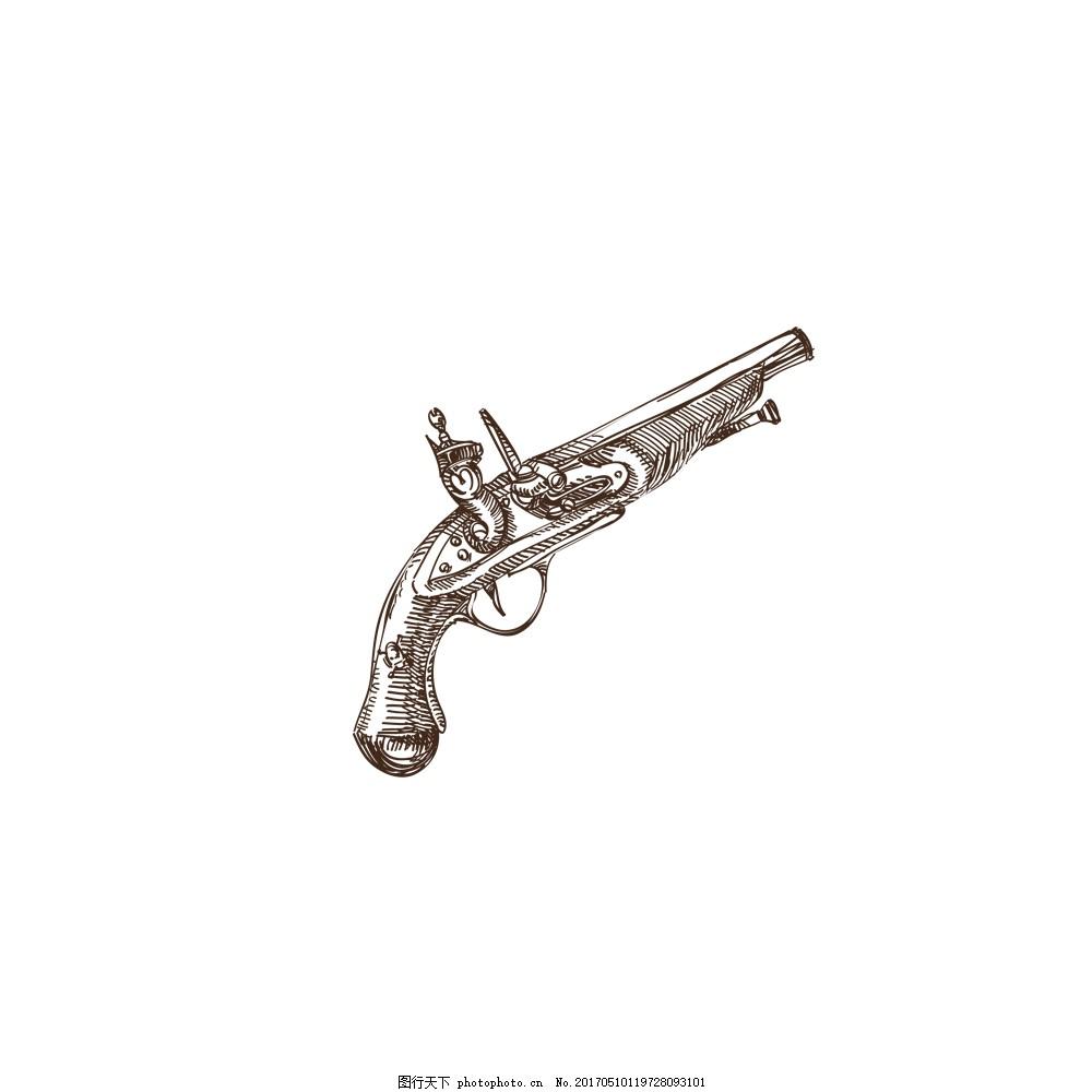 手绘木头枪线条