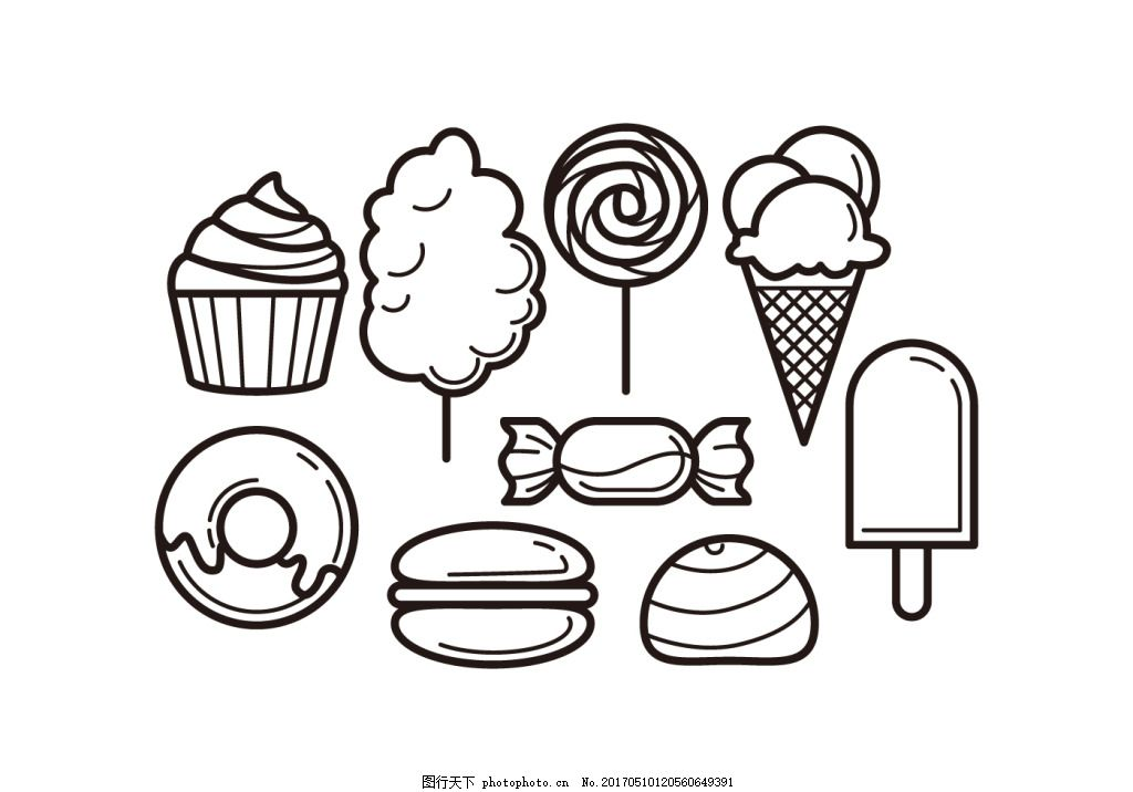 手绘线性美食甜点图标 手绘美食 矢量素材 食物 手绘食物 美食图标