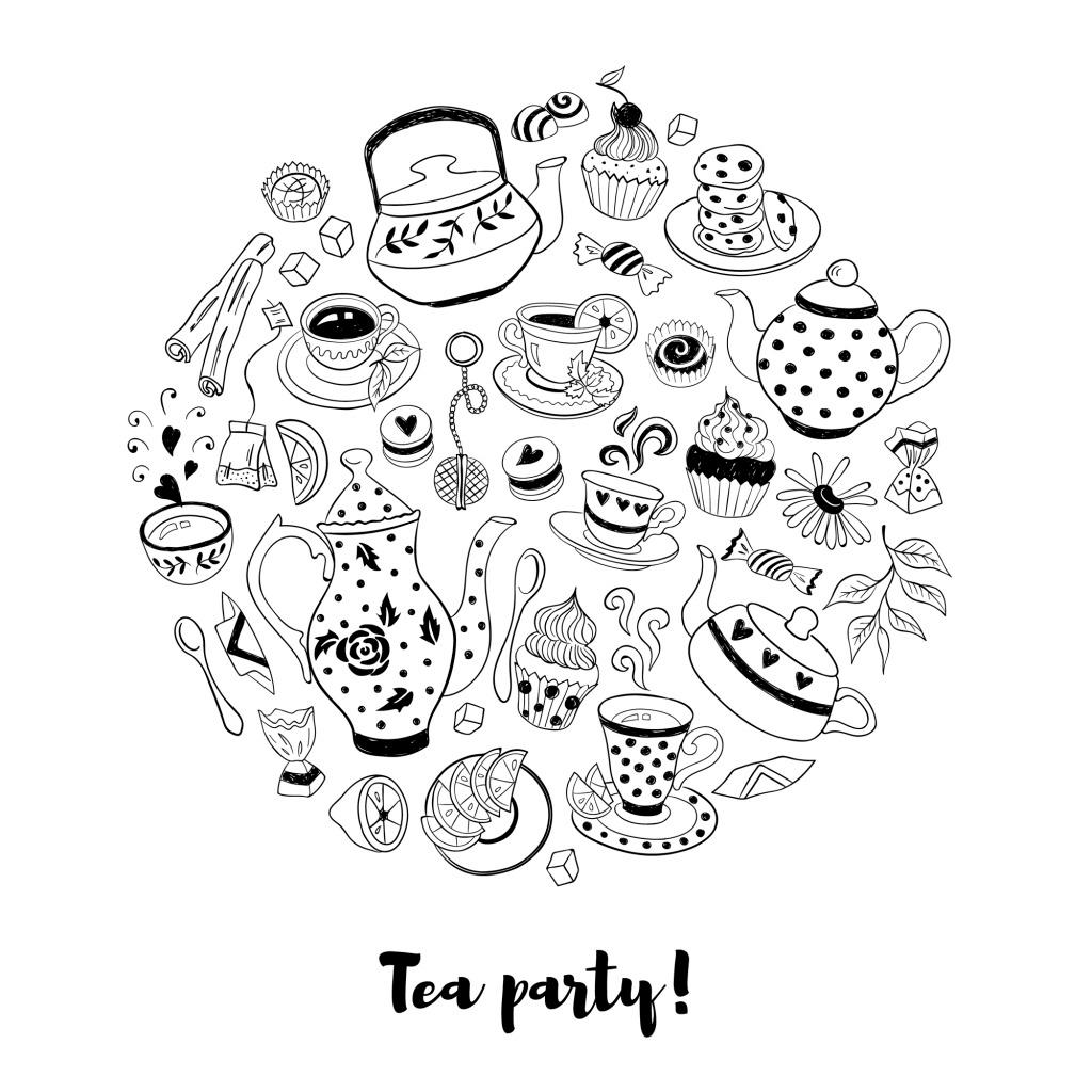 卡通手绘风格喝茶矢量图标背景素材
