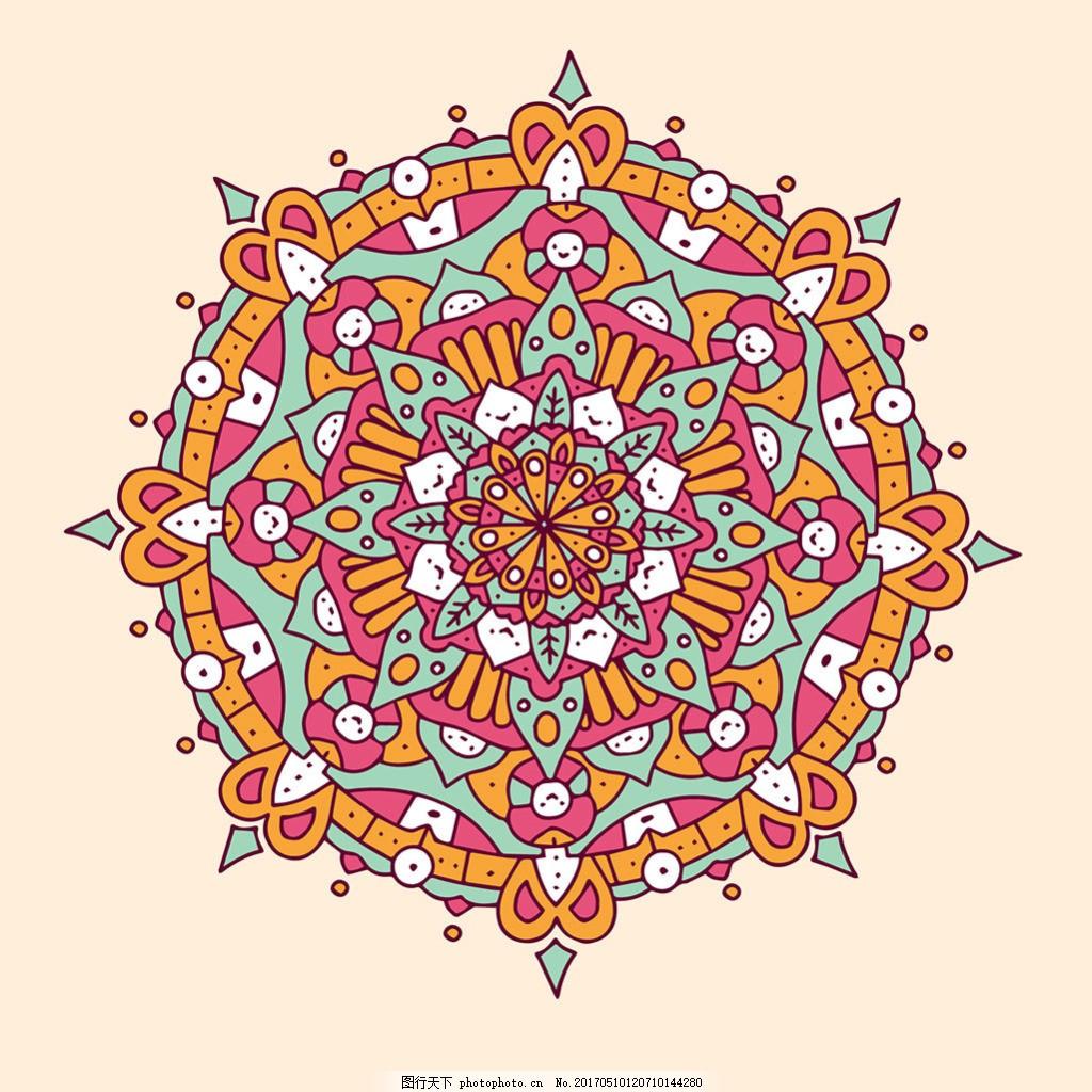 手绘彩色曼陀罗装饰花纹背景