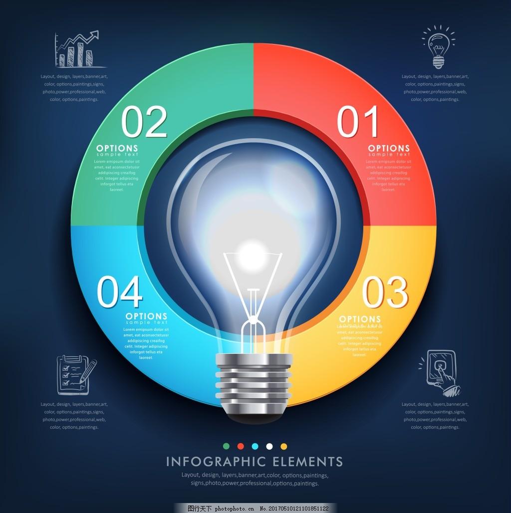 矢量灯炮图表元素 创意电灯泡 信息图表矢量素材 灯 商务信息图表 ppt