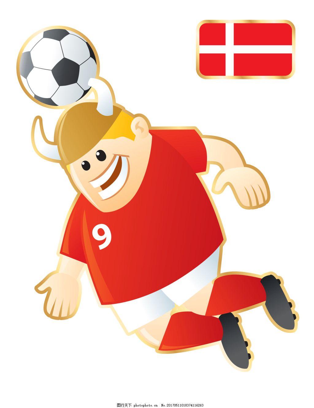 顶球牛角足球卡通人物形象矢量图 红色 牛角 足球 运动员 大胖子 运动