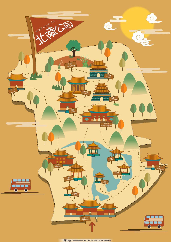 北陵公园手绘地图