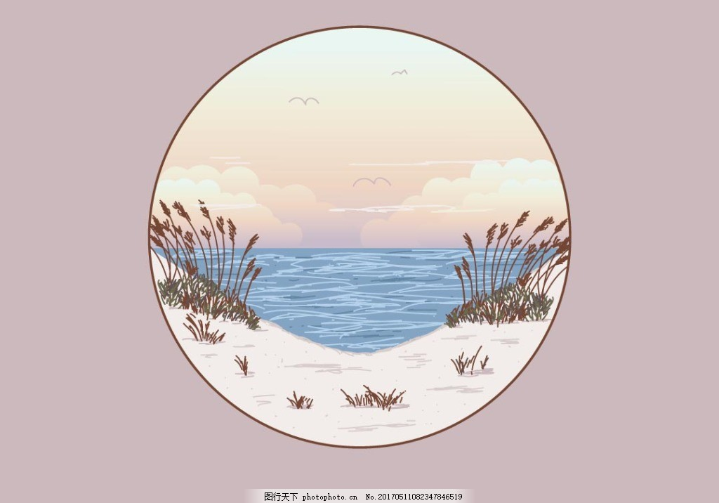 唯美清新手绘海滩插画 插画素材 海洋插画 扁平化海洋 浪花插画