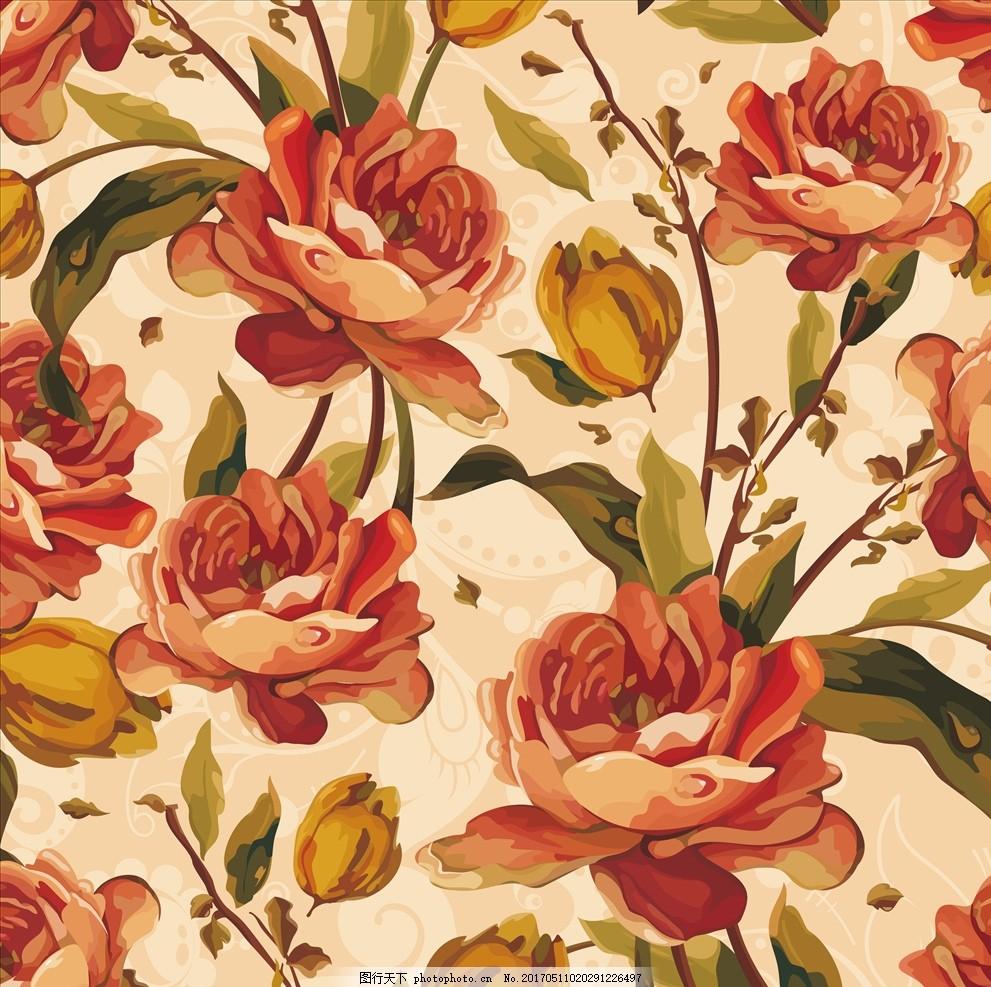 复古手绘花瓣墙纸 唯美花卉 复古花卉 花开富贵 浪漫 矢量 大气