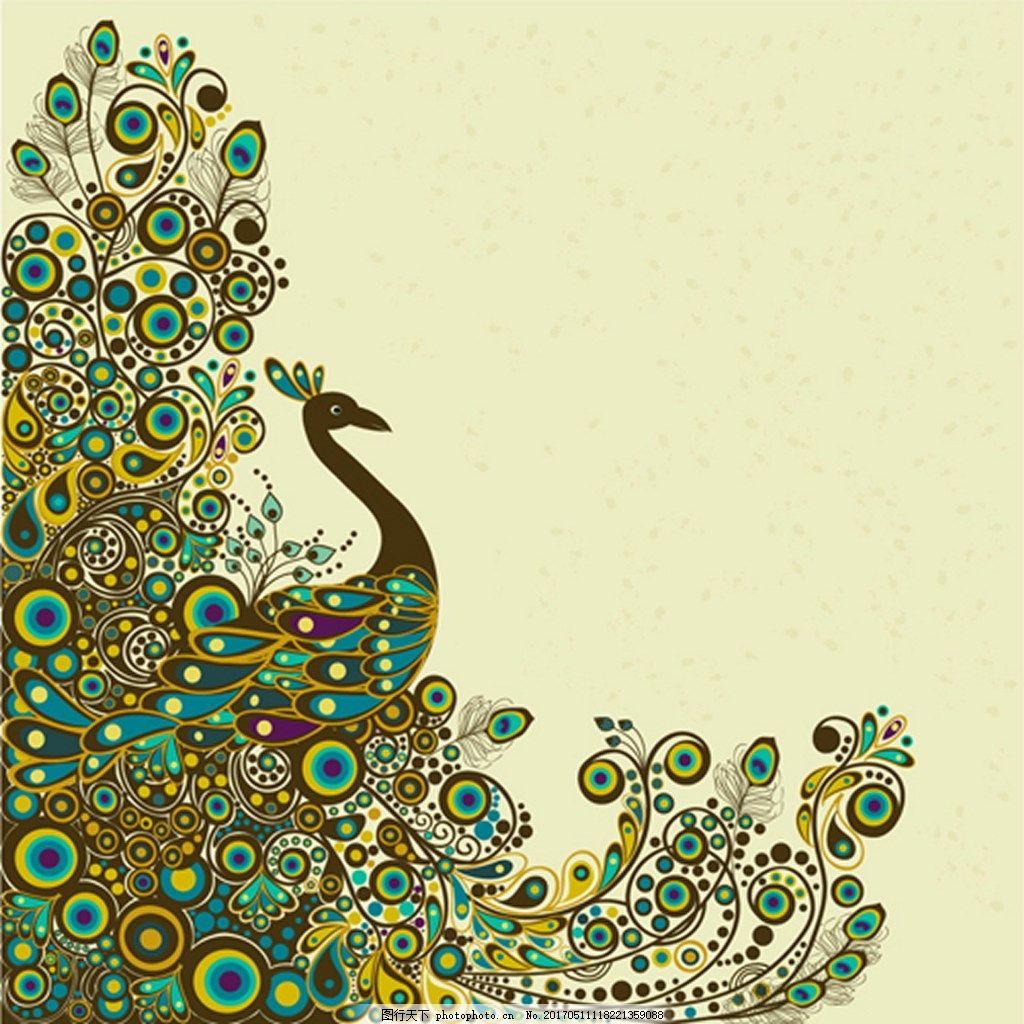 孔雀开屏矢量背景 花纹 动物