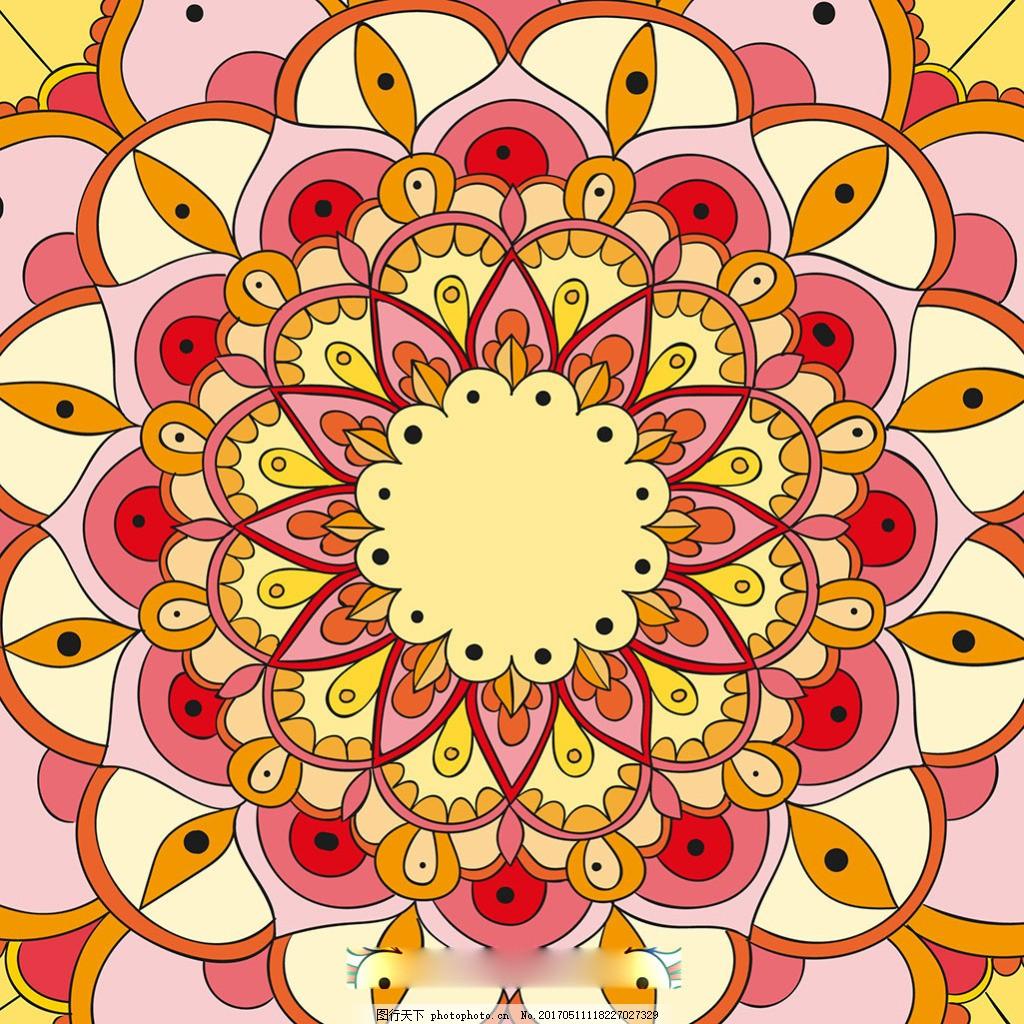 手绘风格曼陀罗花纹装饰图案背景