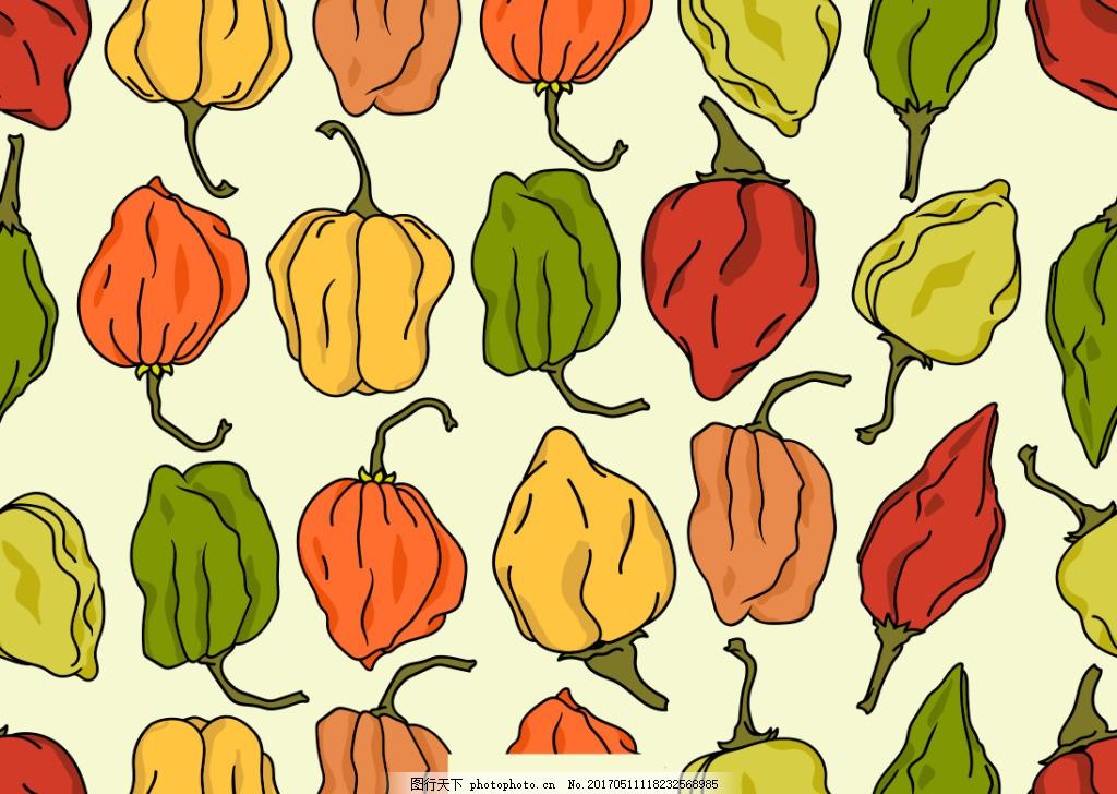 手绘辣椒背景 辣椒素材 矢量辣椒 蔬菜 手绘蔬菜 手绘植物 矢量素材