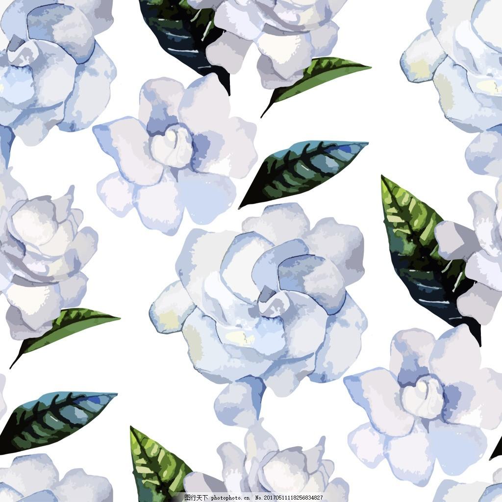 白色 栀子花 卡通 小清新 花朵 背景 绿色树叶 插画 素材 水彩图片