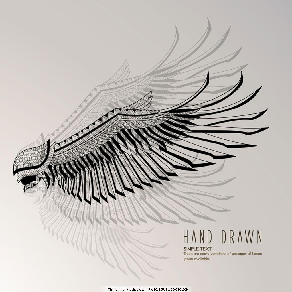 手绘素描风格老鹰插图背景