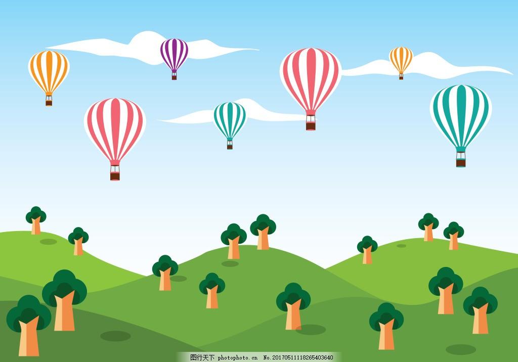 手绘热气球景观插画