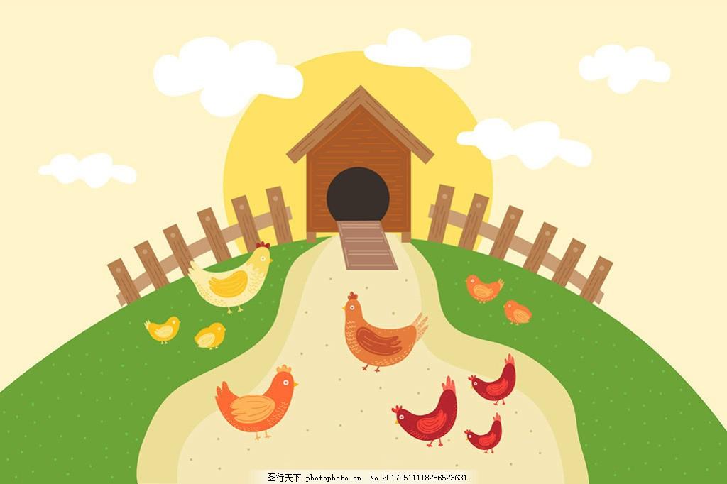 公鸡母鸡小鸡绿色农场背景 淘宝背景 矢量图素材 网页素材 矢量图模板