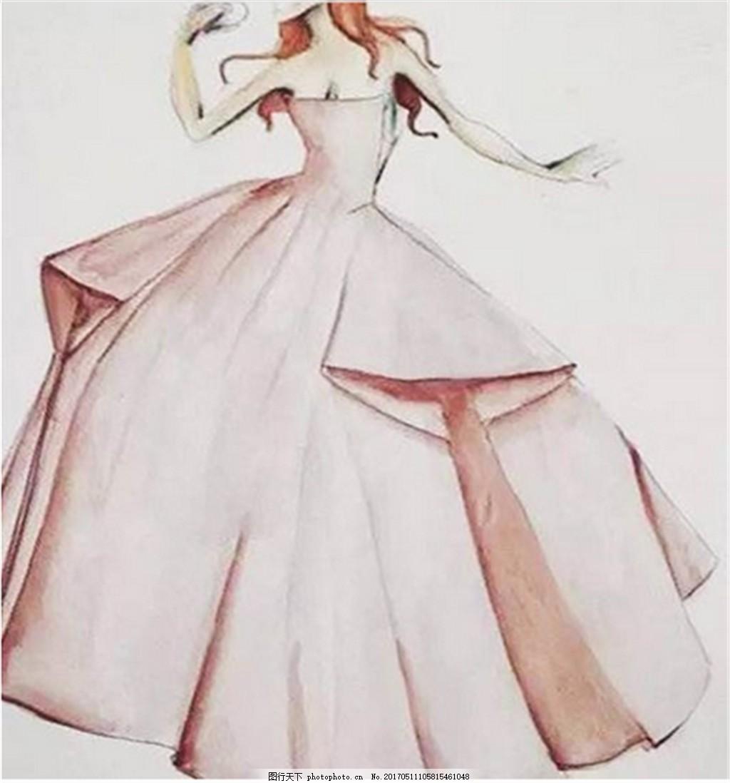 粉色抹胸礼服设计图 时尚女装 职业女装 女装设计效果图 短裙 服装