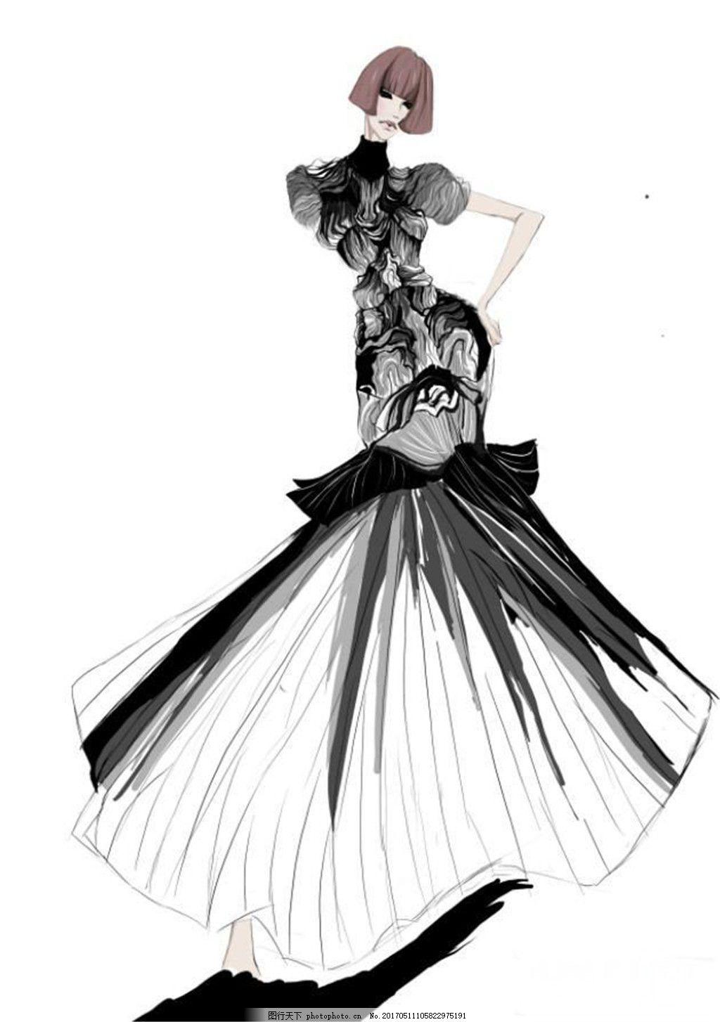 黑色时尚礼服设计图 时尚女装 职业女装 女装设计效果图 短裙 服装