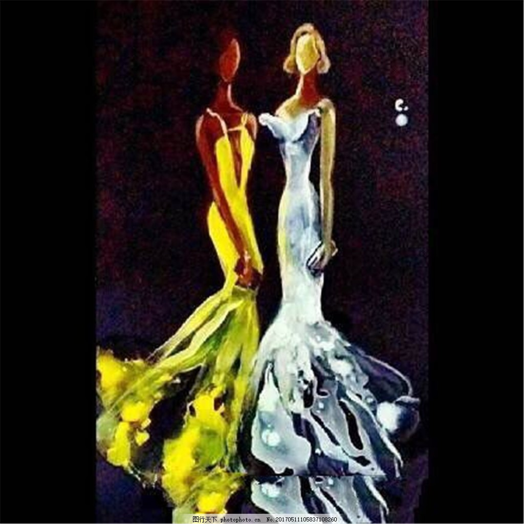 2款彩绘礼服设计图 时尚女装 职业女装 女装设计效果图 短裙 服装图片