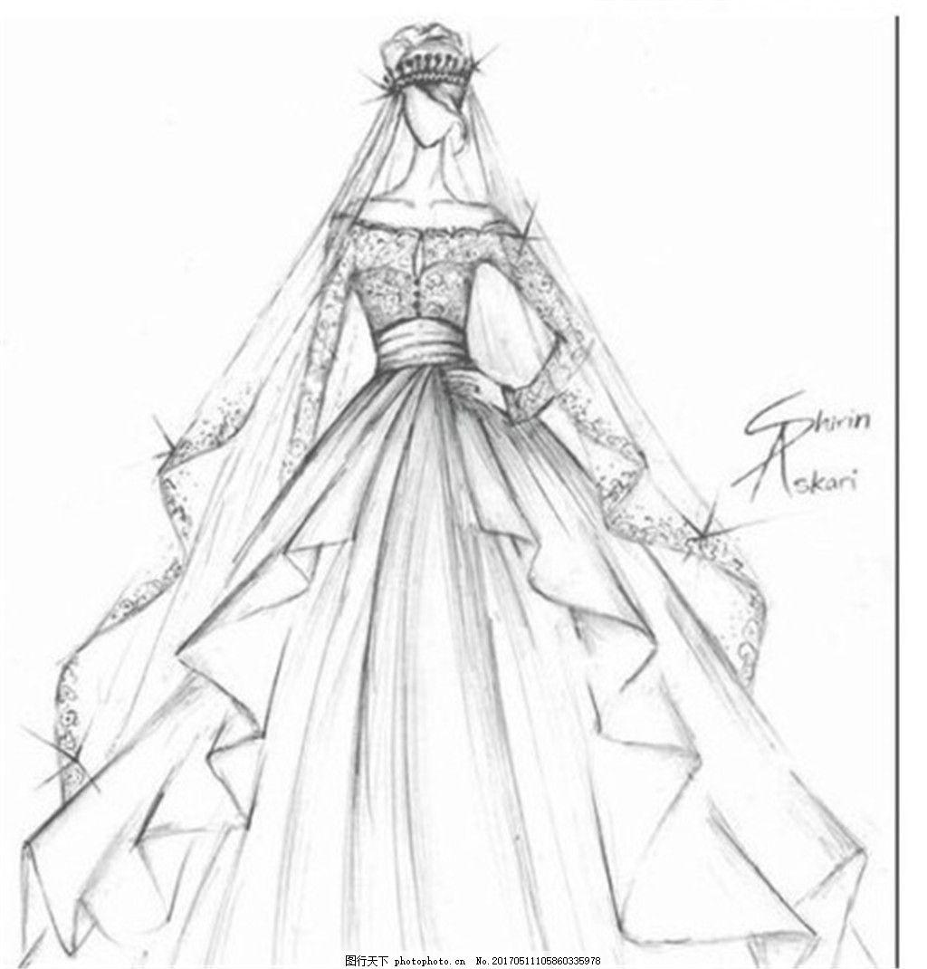 束腰婚纱长裙设计图