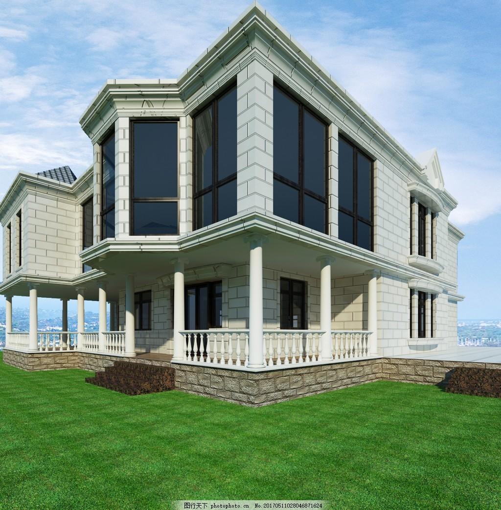 中式别墅效果图 欧式建筑 建筑图片 房屋 奢华别墅 欧式别墅 建筑效果