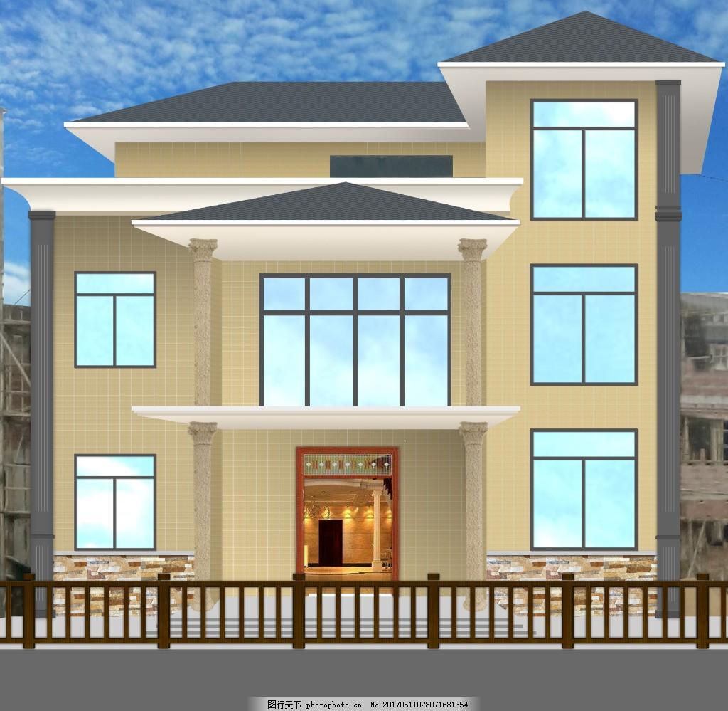 别墅效果图 别墅 房子 装修 ps后期处理 源文件 建筑设计