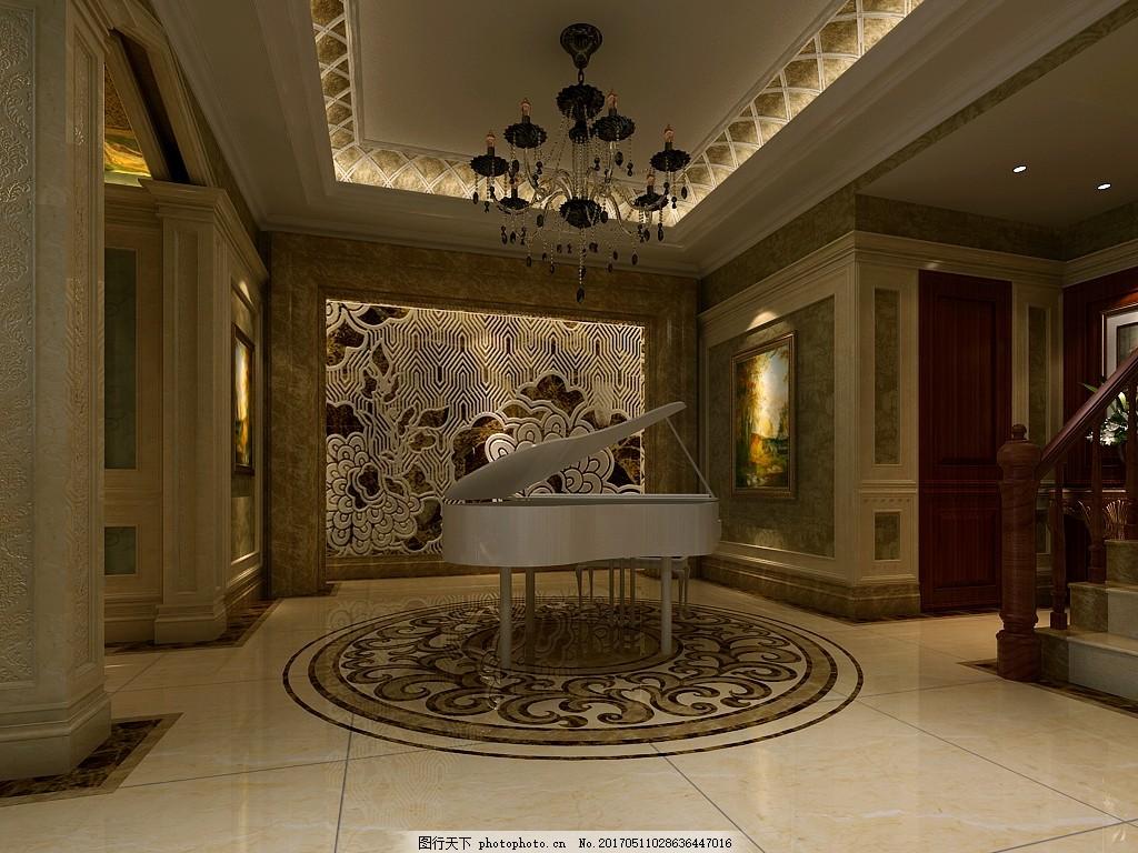 现代豪华别墅琴房装修效果图