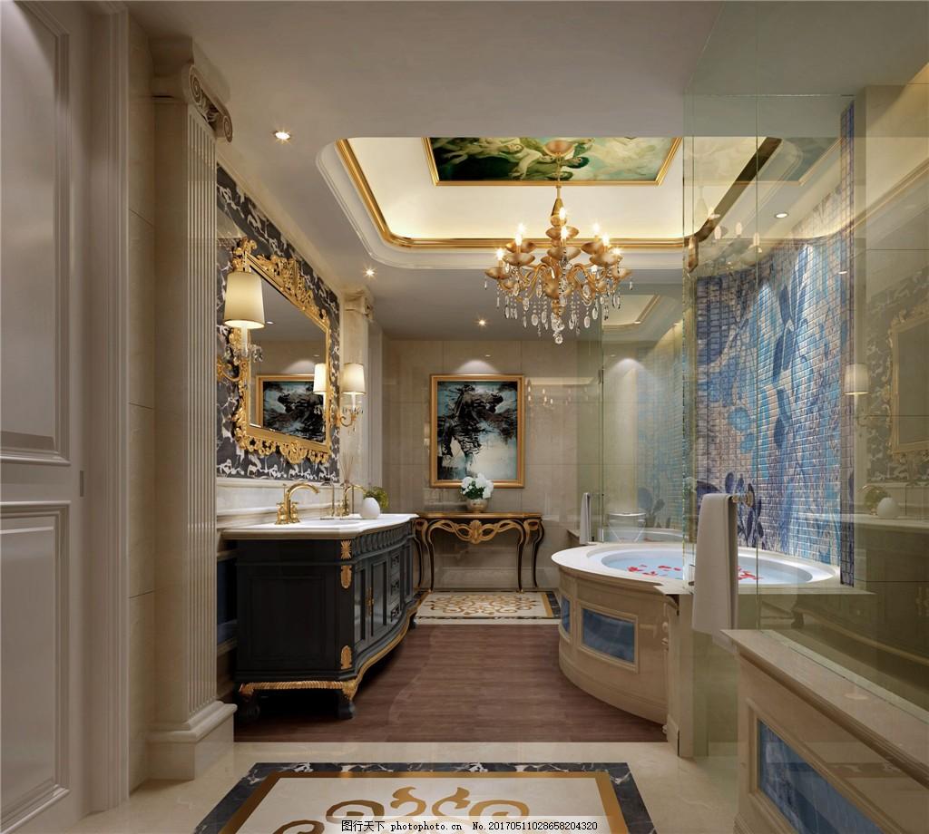 欧式豪华卫生间背景墙设计图
