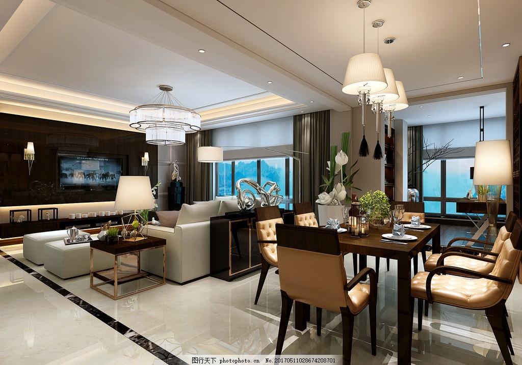现代港式餐厅客厅装修效果图 室内设计 家装效果图 现代装修效果图