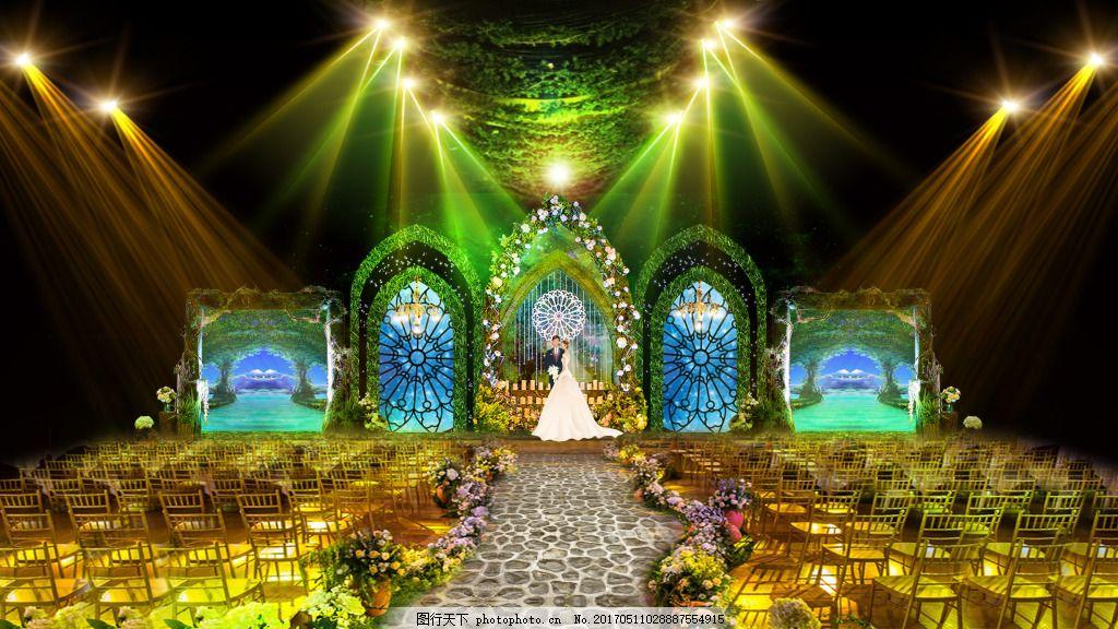 大厅效果图 婚礼背景 婚礼设计 婚礼设计背景 签到台设计 森系婚礼
