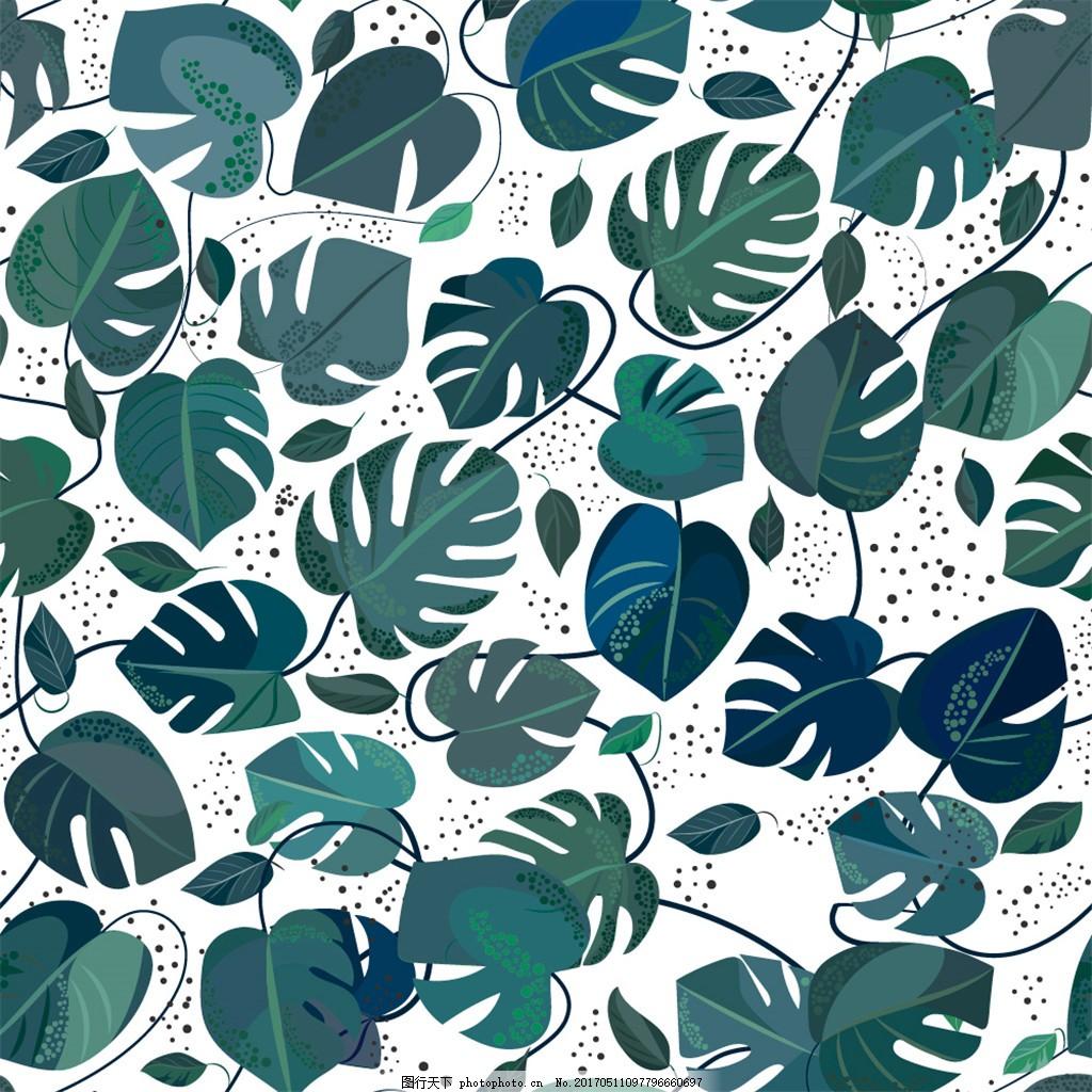 浅蓝色树叶布纹壁纸图