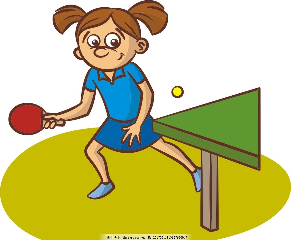 卡通运动员 打乒乓球 卡通女孩 女孩打球 手绘女孩 设计 广告设计
