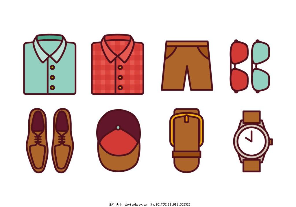 扁平手绘男士时尚服饰 手绘服饰 衣服 手绘衣服 矢量素材 裤子