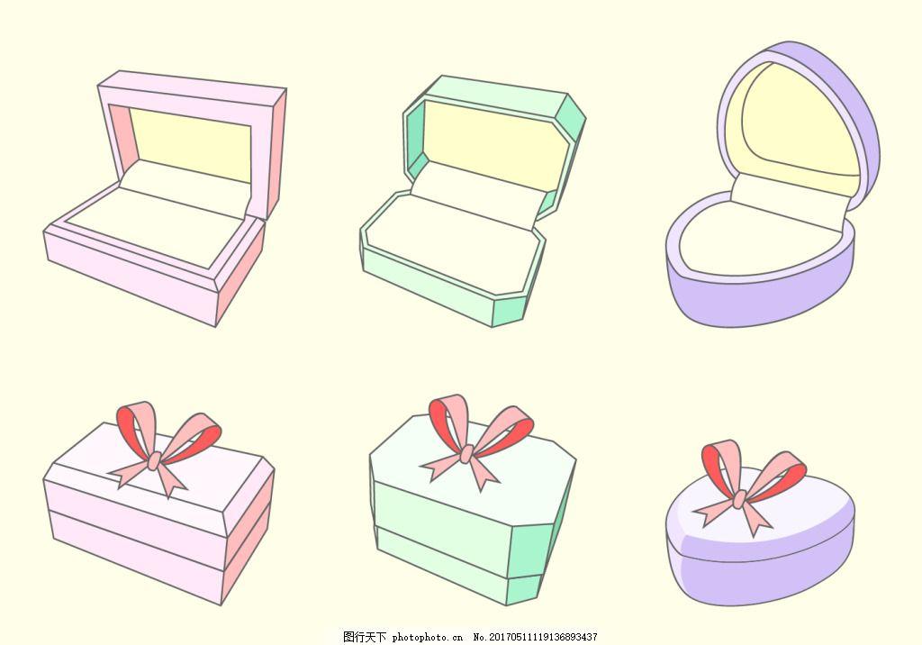 钻石 手绘宝石 宝石图案 手绘钻石 珠宝设计 戒指 戒指盒 盒子 首饰盒