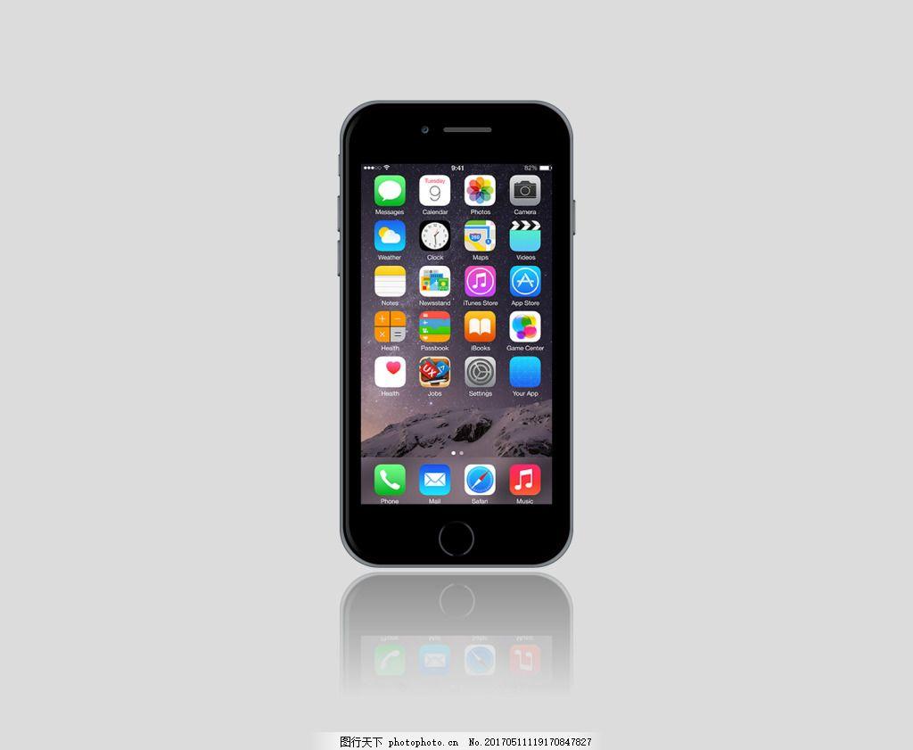 手机图案 智能手机 手机 苹果手机 模型 灰色背景