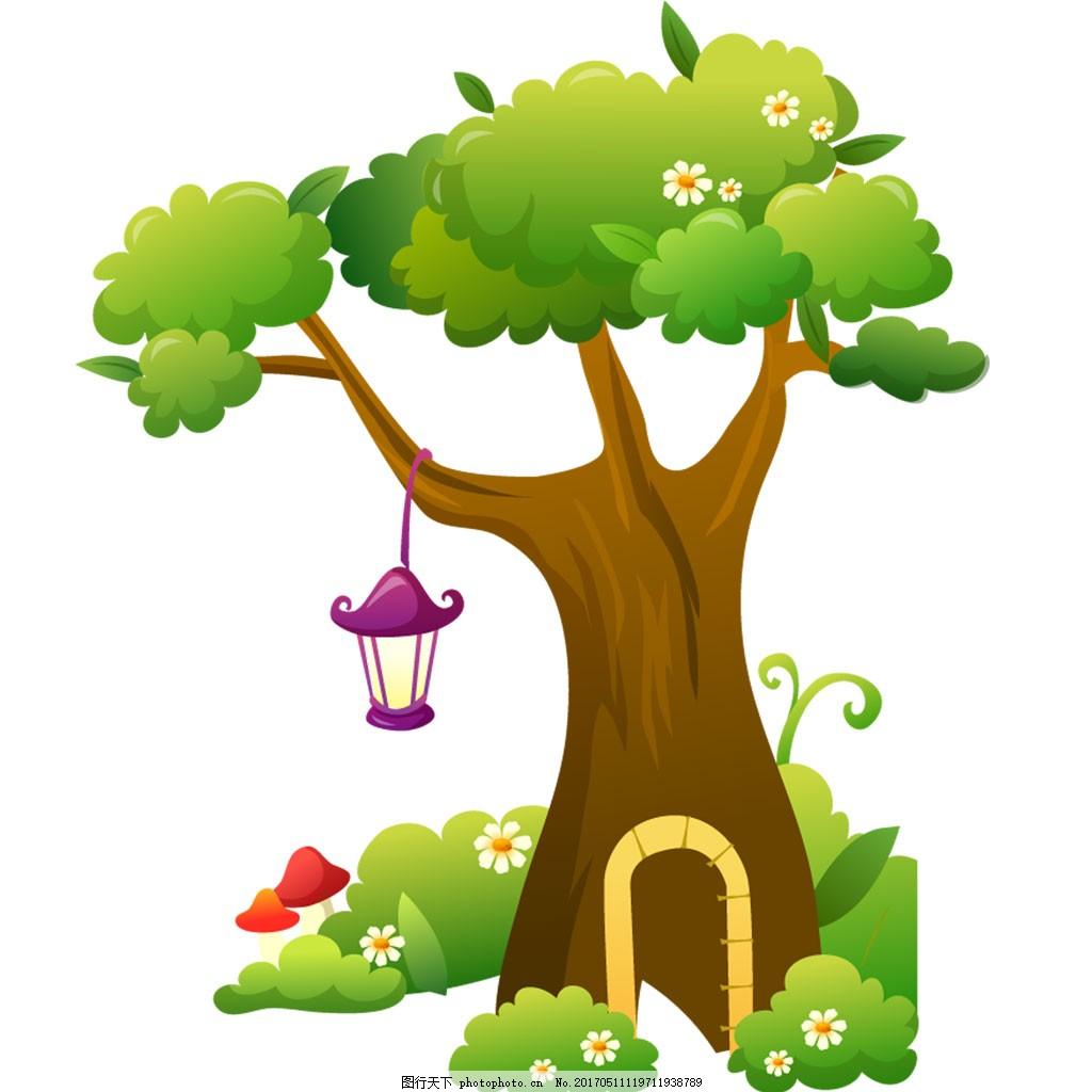 大树 绿树卡通树木 灯 草地 树洞 免扣素材图片