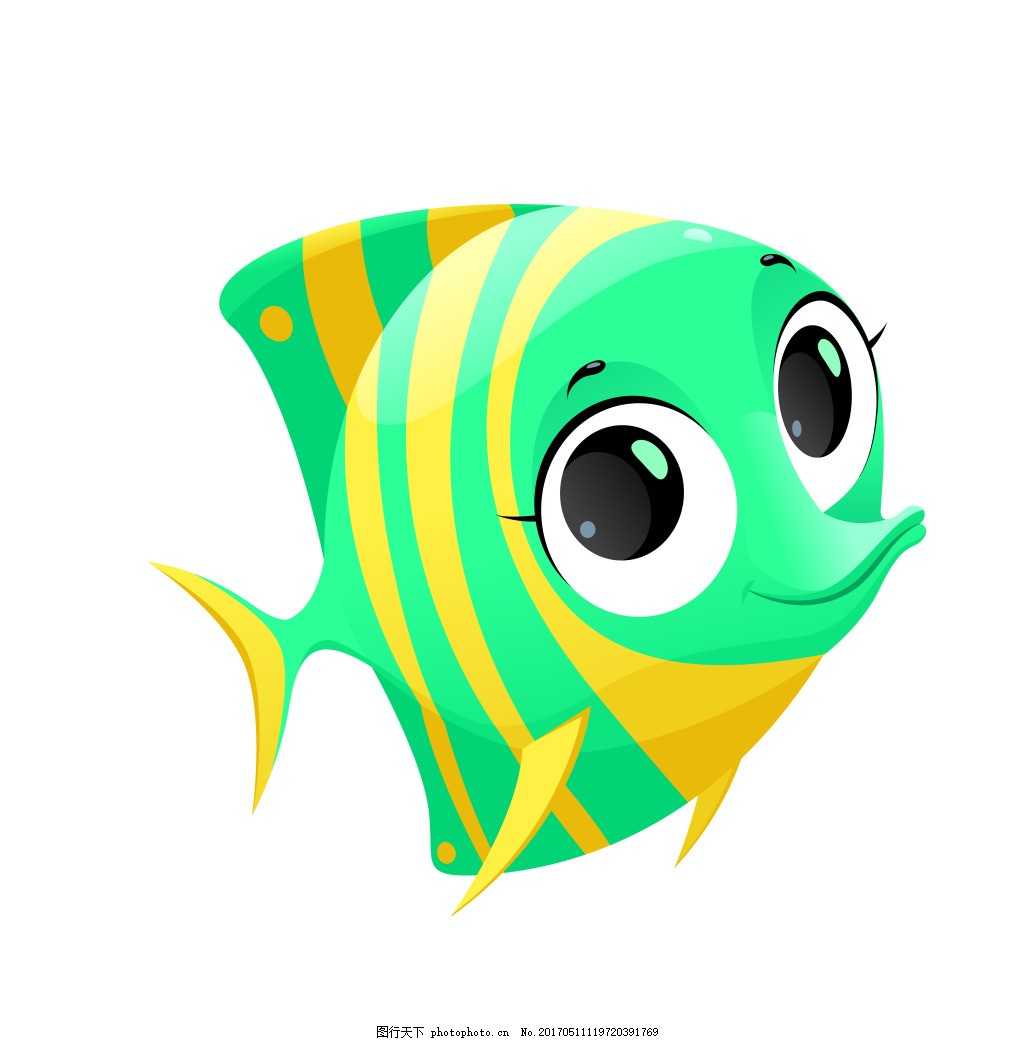 鱼妈妈卡通图片_矢量卡通海底动物小鱼EPS图片_装饰图案_设计元素_图行天下图库