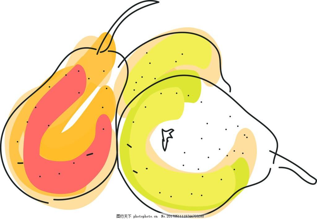 梨卡通水果水彩手绘风格矢量素材