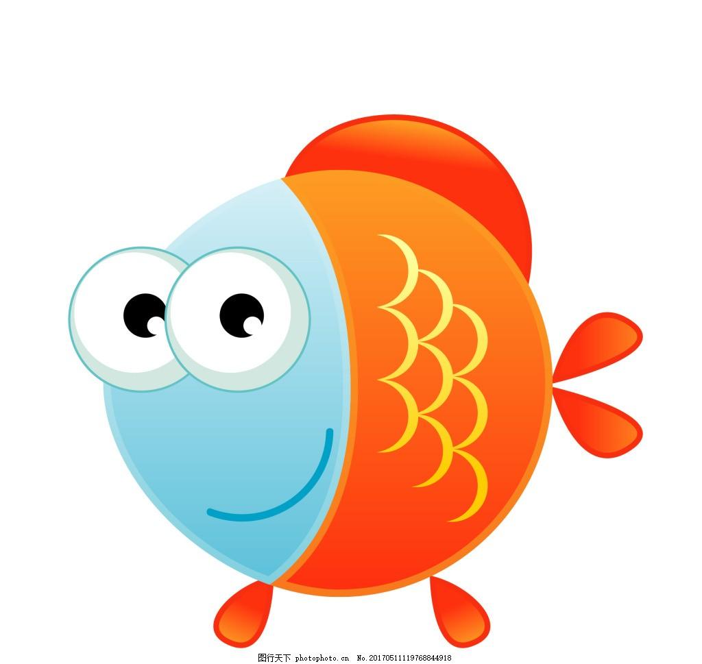 卡通海底动物小红鱼eps