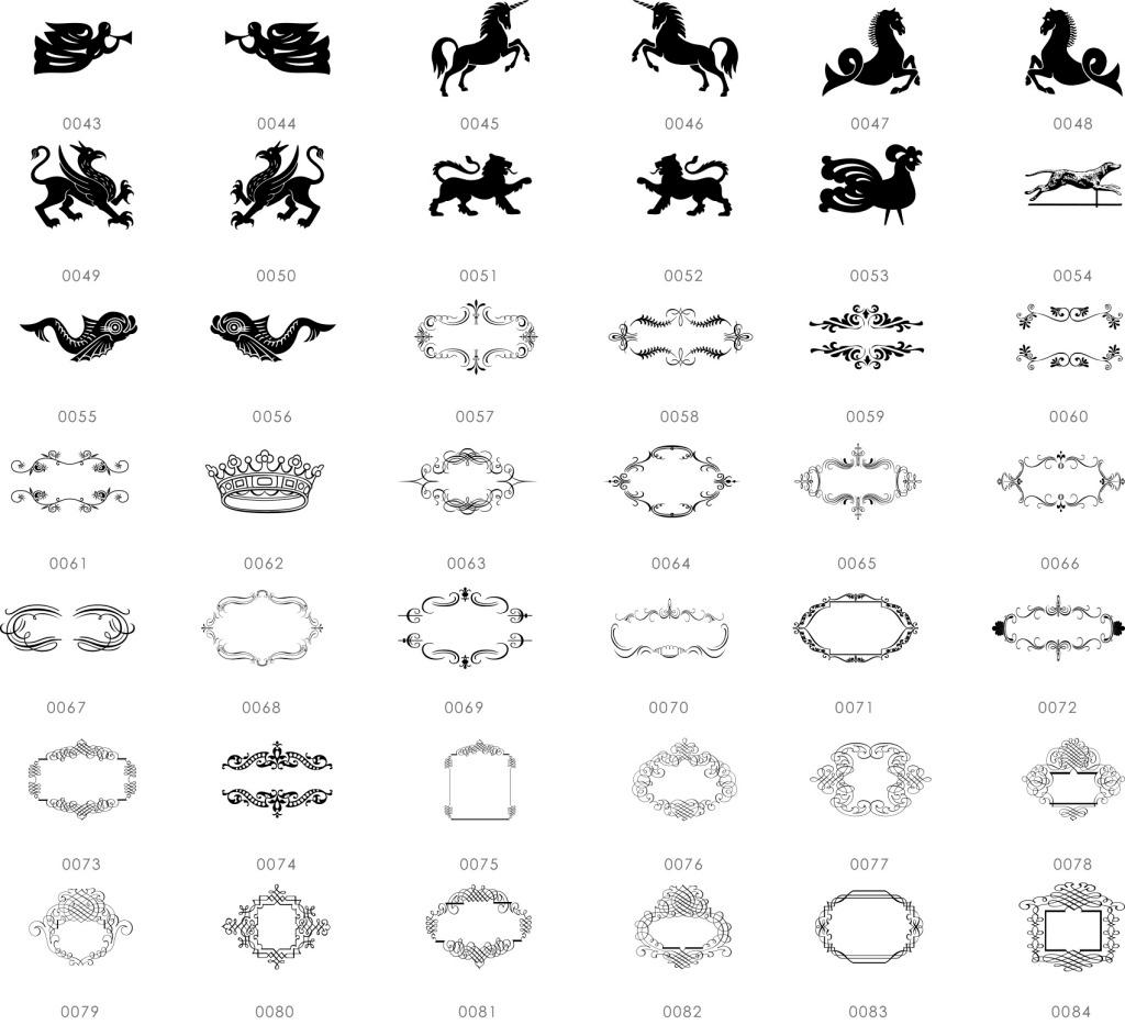 黑白线条装饰图案 动物 黑白 国外 图标 多个 美式 欧式