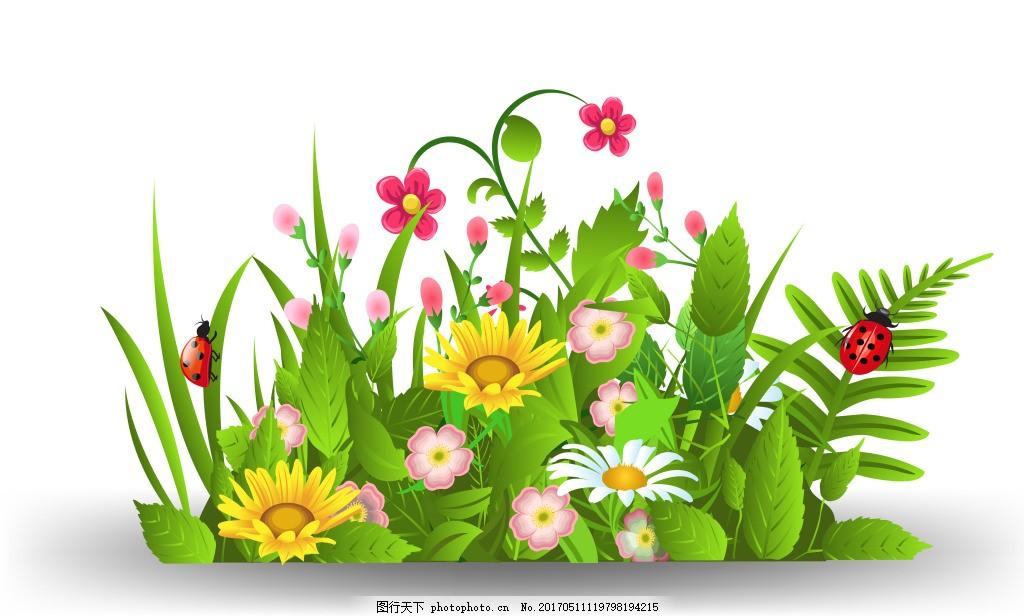 矢量卡通绿草 卡通花丛设计矢量素材图片下载 卡通 花草 矢量 绿色 卡