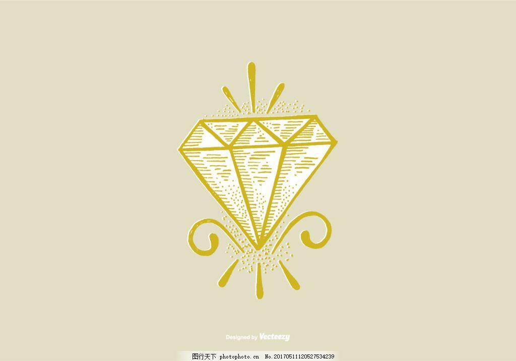 手绘唯美钻石图标