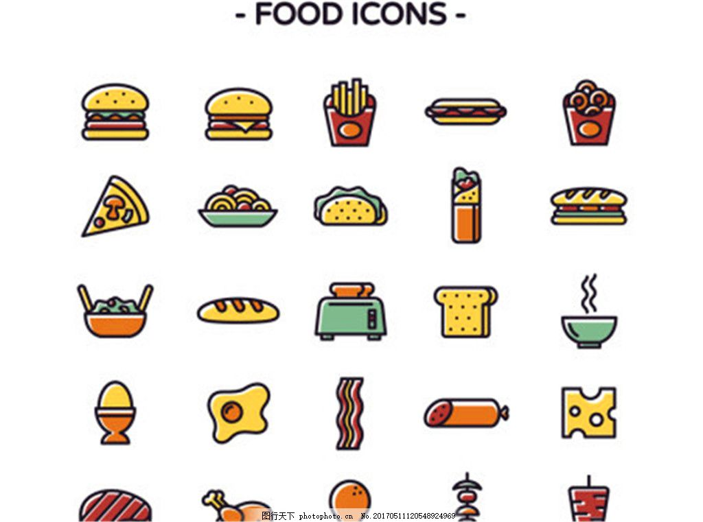 色食品标���(9�d_25色食品矢量图标