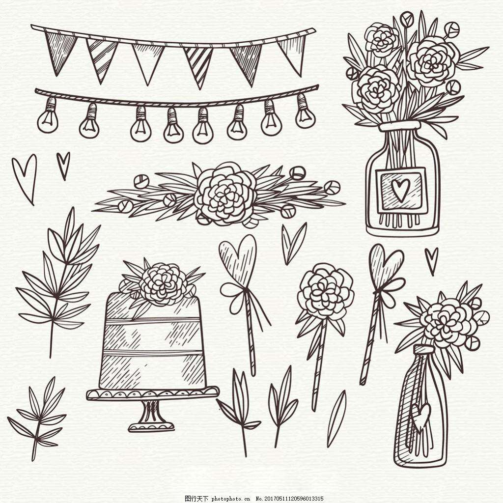 手绘素描风格婚礼元素插图