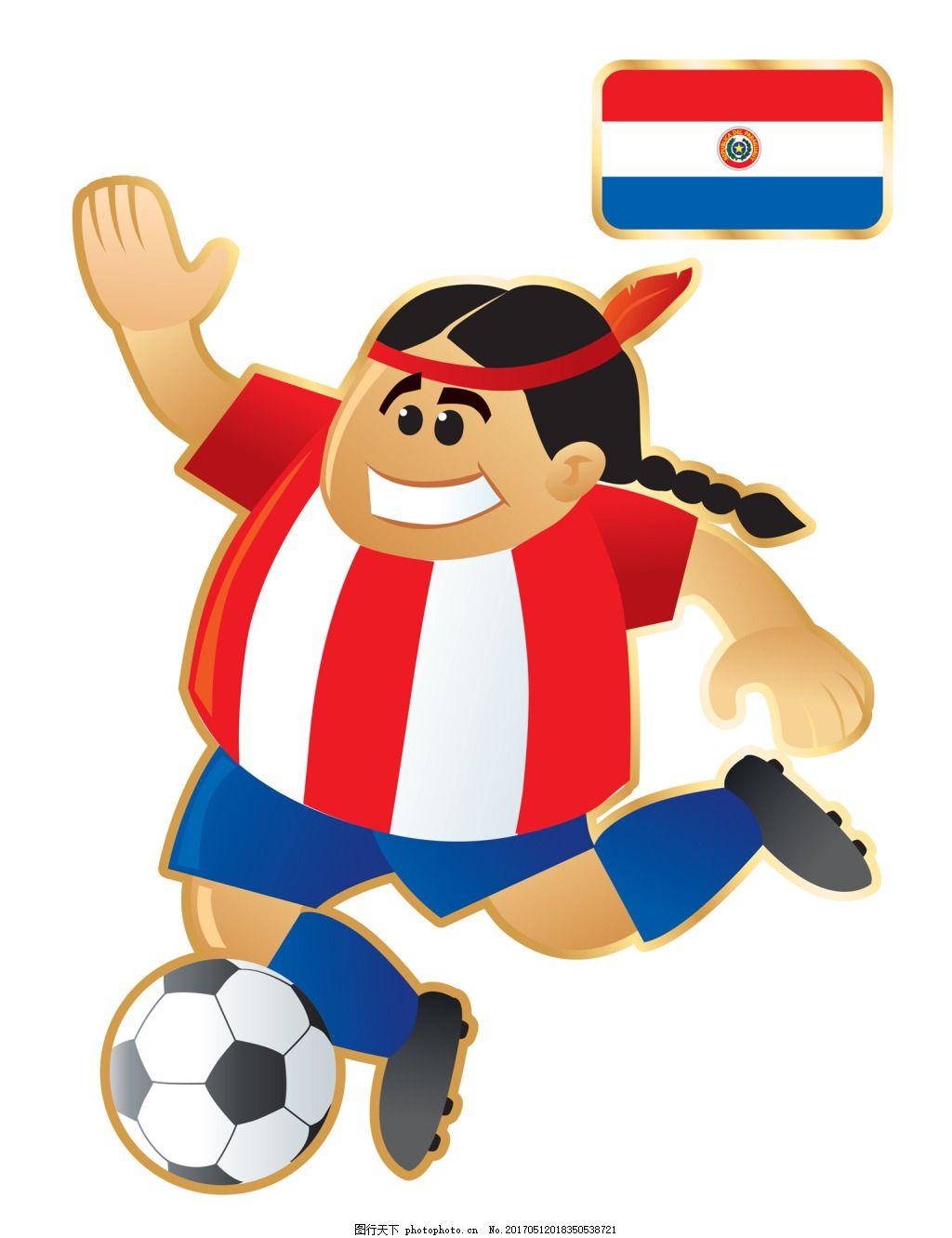 搞笑不同国家足球卡通人物形象矢量图 印度 运动员 大胖子 踢球