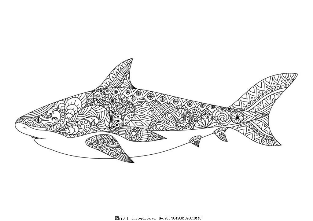 卡通鲨鱼漫画 卡通动物漫画 矢量动物插画 动物插图 线形动物 陆地
