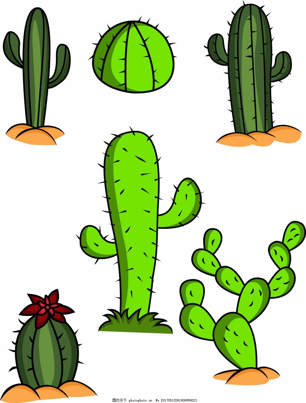 卡通仙人掌 植物 绿色