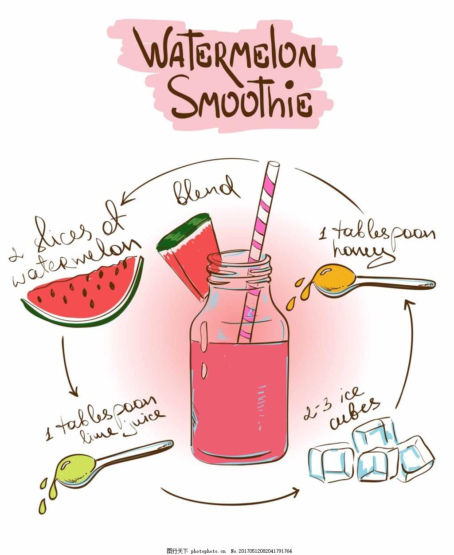手绘西瓜汁 水果 冰块