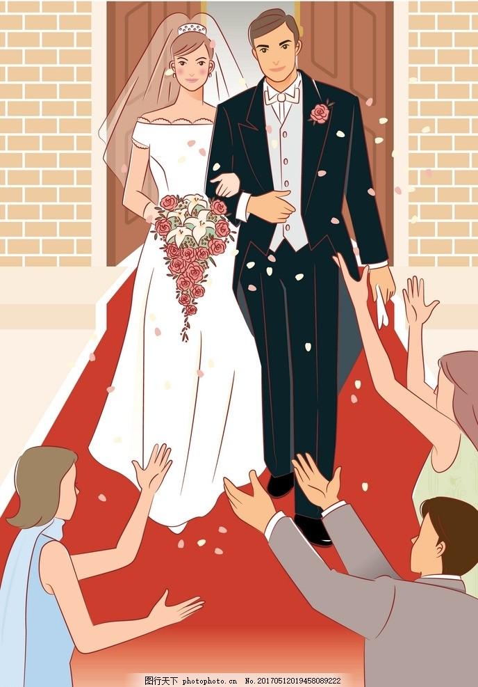 手绘婚礼情景 婚纱 幸福 结婚 手牵手 爱情 玫瑰