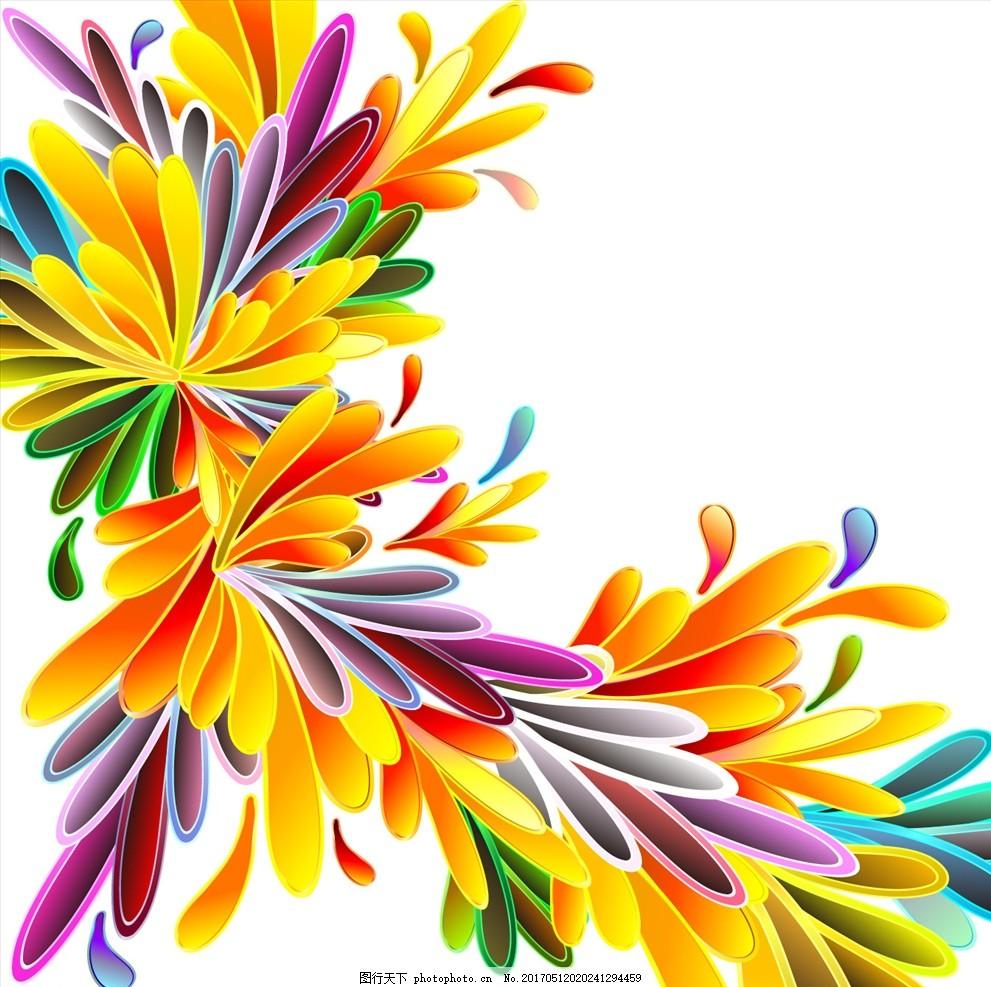 彩色时尚高清手绘花瓣 唯美花卉 花朵 叶子 文字 水彩花朵 底纹背景